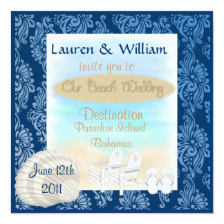 "Destination Beach Wedding Invitation With Damask D 5.25"" Square Invitation Card"