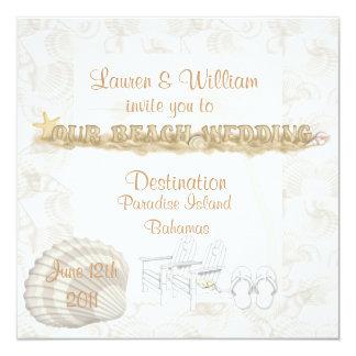 """Destination Beach Wedding Invitations Template 5.25"""" Square Invitation Card"""