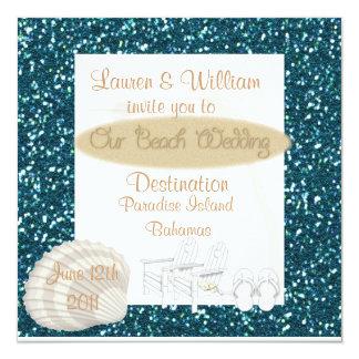 "Destination Beach Wedding Invitations TURQUOISE CR 5.25"" Square Invitation Card"