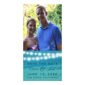 Destination beach wedding save the date in teal card
