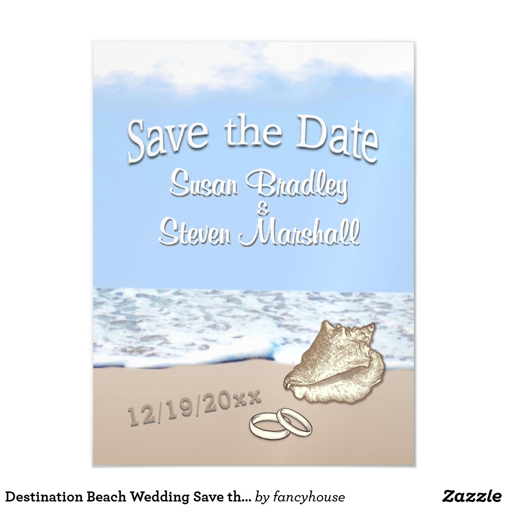 Destination Beach Wedding Save the Date Magnetic Invitation