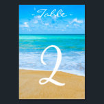 """Destination Beach Wedding Table Number Card<br><div class=""""desc"""">Vibrant Tropical beach background wedding table number card. Personalize text font style,  color,  and size. Matching items can be found in our Destination Beach Wedding Collection.</div>"""