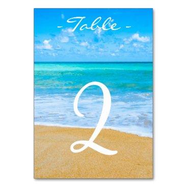 Destination Beach Wedding Table Number Card