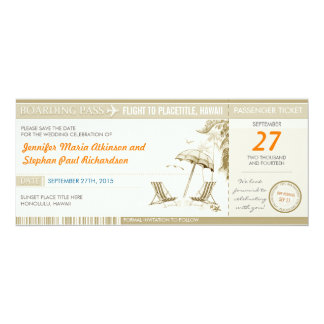 destination boarding pass tickets save the date 4x9.25 paper invitation card