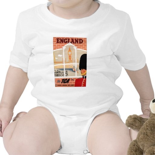 Destination: England Travel Poster Baby Bodysuit