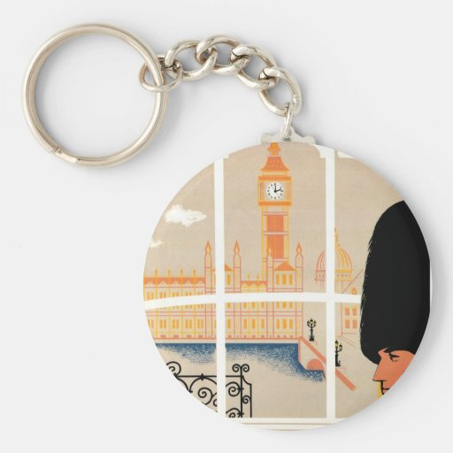 Destination: England Travel Poster Basic Round Button Keychain