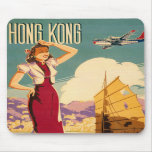 Destination: Hong Kong Retro Graphic Mouse Pad