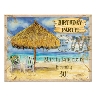 Destination Paradise Tropical Beach Birthday Party Personalized Invitations