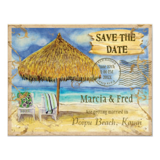 Destination Paradise, Tropical Beach Save the Date 4.25x5.5 Paper Invitation Card