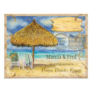 Destination Paradise, Tropical Beach Save the Date Custom Invites
