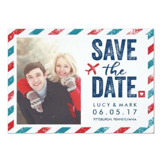 Destination Postal Theme Wedding | Save the Date 5x7 Paper Invitation Card