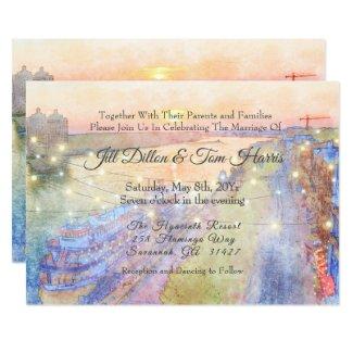 Destination Sunset Watercolor Wedding Invitation