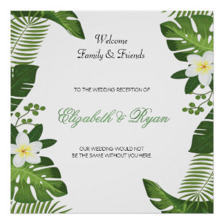 Destination, Tropical, Custom, Wedding Welcome Sig Poster
