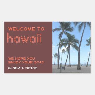 Destination wedding brown tropical gift bag label rectangular sticker
