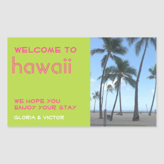 Destination wedding green tropical gift bag label