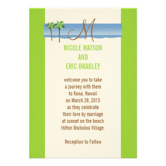 Destination Wedding Invitations Palm Tree Monogram