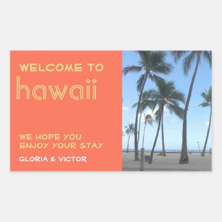 Destination wedding orange tropical gift bag label rectangular sticker