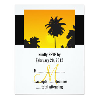 Destination Wedding RSVP Cards Palm Trees Personalized Announcement