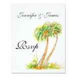 "Destination Wedding RSVP Cards Palm Trees 4.25"" X 5.5"" Invitation Card"