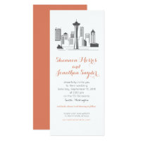 Destination Wedding Seattle Skyline Invitation