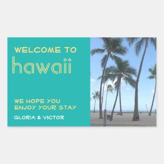 Destination wedding teal tropical gift bag label rectangular sticker