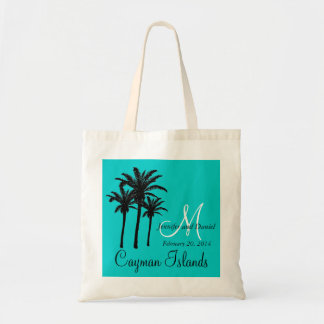 Destination Wedding Tote Bags Palm Trees Aqua