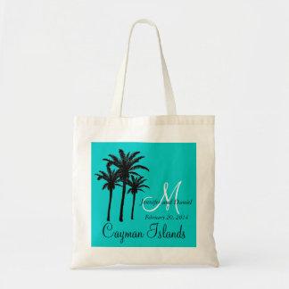 Destination Wedding Tote Bags Palm Trees Aqua