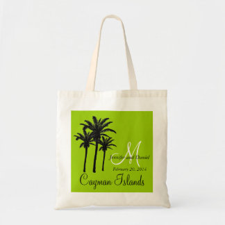 Destination Wedding Tote Bags Palm Trees Green