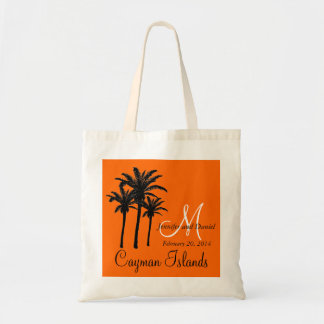 Destination Wedding Tote Bags Palm Trees Orange