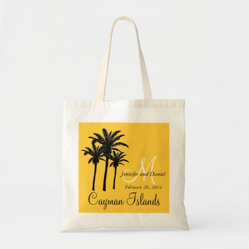 Destination Wedding Tote Bags Palm Trees Yellow