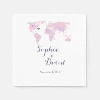Destination Wedding Travel Watercolor World Map Paper Napkin