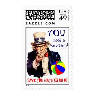 Destination Wedding Uncle Sam Postage Stamp