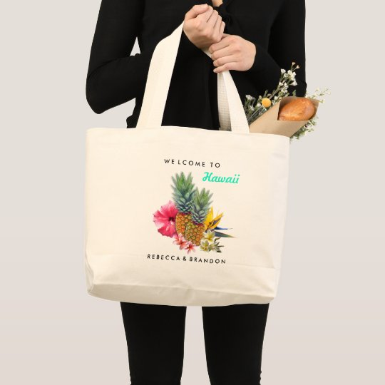 Destination Wedding Welcome Guests to Hawaii Large Tote Bag | Zazzle.com
