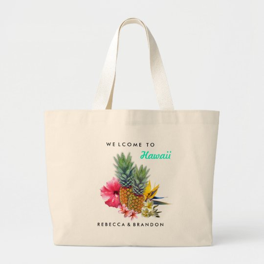 Destination Wedding Welcome Guests to Hawaii Large Tote Bag Zazzle
