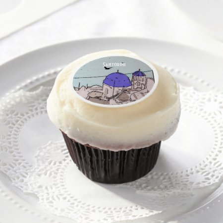 Destination Weddings Abroad Santorini Edible Frosting Rounds