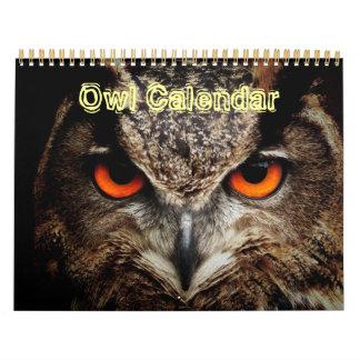 Destino animal del amor de la paz del búho de la calendario de pared