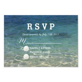 """Destino azul de la playa del océano que casa RSVP Invitación 3.5"""" X 5"""""""