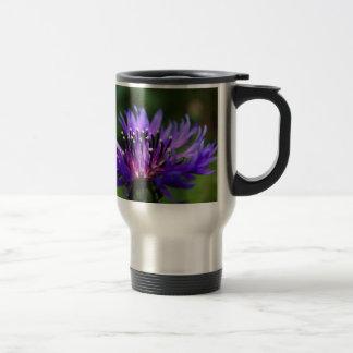 Destino azul del amor de la paz de los flores de taza de viaje de acero inoxidable
