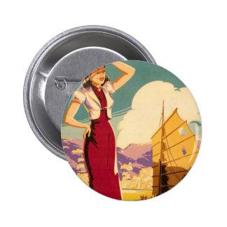 Destino: Botón redondo gráfico retro de Hong Kong Pins