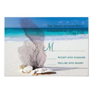"""Destino de la arena de los Seashells de la playa Invitación 3.5"""" X 5"""""""