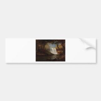Destino de la cascada del bosque de la pintura de etiqueta de parachoque