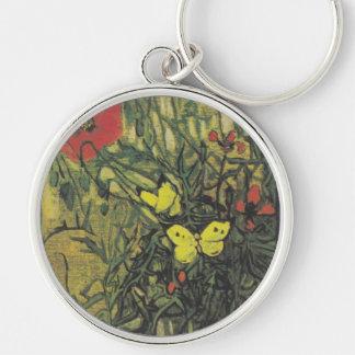 Destino de la paz de las flores de las amapolas de llavero redondo plateado