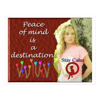 Destino de la paz interior tarjeta postal