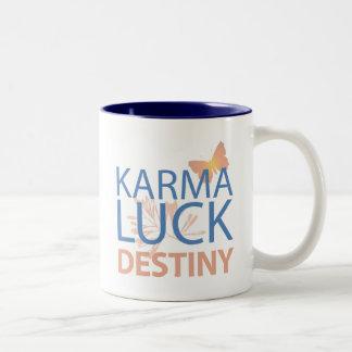 Destino de la suerte de las karmas taza de café de dos colores