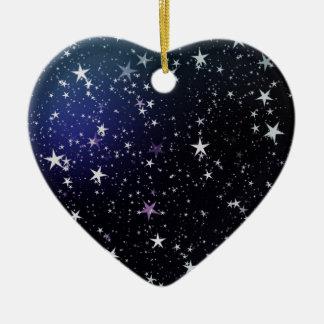 Destino del amor de la paz del espacio del cielo adorno de cerámica en forma de corazón