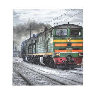 Destino del motor de Steampunk del ferrocarril del Blocs De Notas