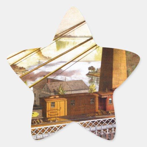 Destino del motor de Steampunk del ferrocarril del Pegatina En Forma De Estrella