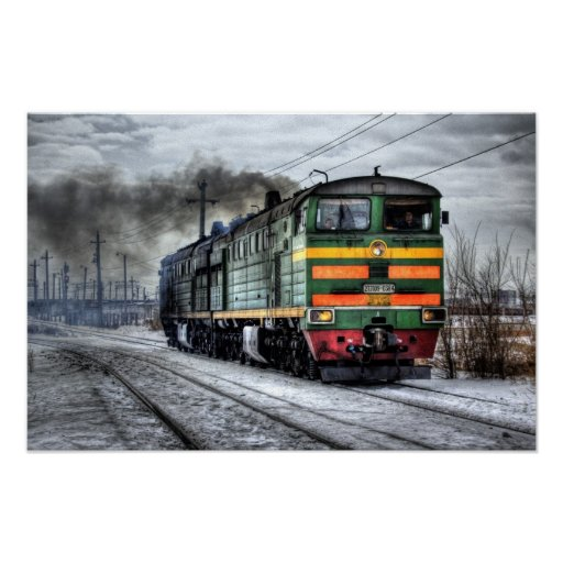 Destino del motor de Steampunk del ferrocarril del Póster
