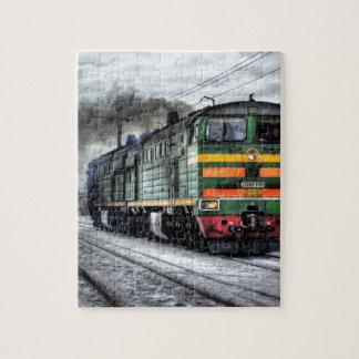 Destino del motor de Steampunk del ferrocarril del Puzzles