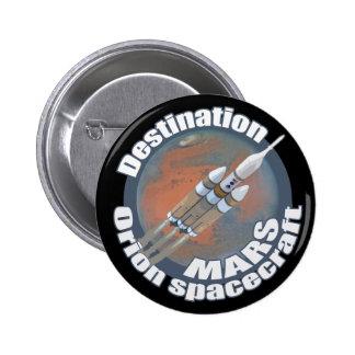 Destino Marte de Orión Pin Redondo De 2 Pulgadas